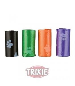 Trixie 4 Rollos de 12 bolsas basura L, colores surtidos para perro