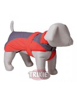 Trixie Abrigo Impermeable Lorient, M, 50 cm, Rojo-Gris para perro